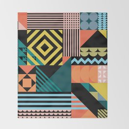 Colorful geometric patchwork pattern Throw Blanket