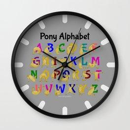 Pony Alphabet Chart, Colourful Wall Clock