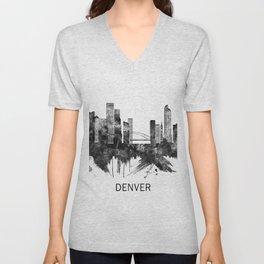 Denver Colorado Skyline BW Unisex V-Neck