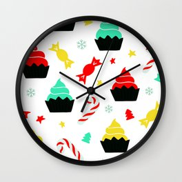Christmas Colorful Cupcakes and Candy Canes Pattern Wall Clock