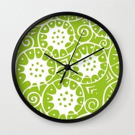 Lime Swirl Pattern Wall Clock