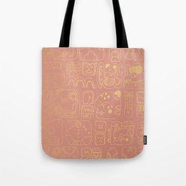 Mayan glyphs - rosegold palette Tote Bag