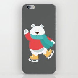 Polar Bear Go Skiing for Merry Christmas iPhone Skin