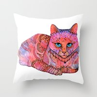 stickers Throw Pillows featuring SUNSET CAT by Ola Liola
