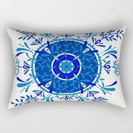 Leaf Mandala – Blue Palette Rectangular Pillow