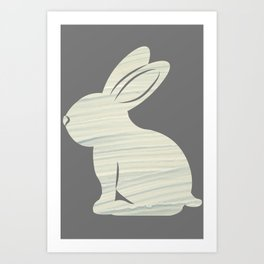 rabbit silhouette with grey color Art Print