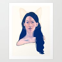 kitsune Art Prints featuring Kitsune by days & hours