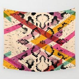 Snake skin texture. black magenta orange pink purple print Wall Tapestry