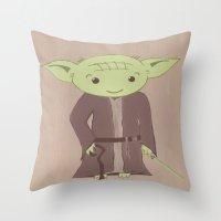 yoda Throw Pillows featuring Yoda by The Naptime Artist