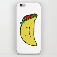 taco iPhone & iPod Skins featuring Sad Taco by Leah Flores