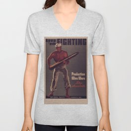 Vintage poster - Keep 'Em Fighting Unisex V-Neck