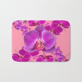 Modern Purple Moth Orchids Coral Color Bath Mat