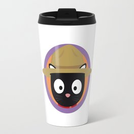 Park ranger cat in purple circle Travel Mug