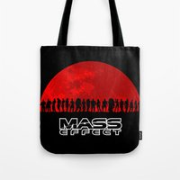 mass effect Tote Bags featuring Mass Effect by TxzDesign