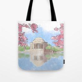 Cherry Blossom - Jefferson Memorial Tote Bag