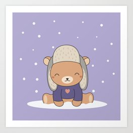 Kawaii Cute Winter Bear Art Print