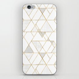 Mod Triangles Gold and white iPhone Skin