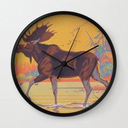 Moose Walking Through Creek Vintage Art Wall Clock