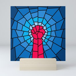 Church of the Revolution / Fist raised in protest on stained glass window Mini Art Print