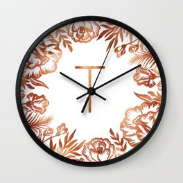 Letter T - Faux Rose Gold Glitter Flowers Wall Clock
