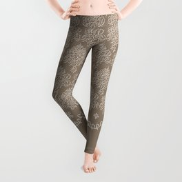 Coffee Color Damask Chenille with Lacy Edge Leggings