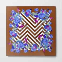 Coffee Brown Blue Morning Glories Abstract Pattern garden  Art Metal Print