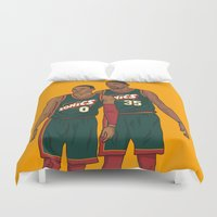 nba Duvet Covers featuring Westbrook and Durant - Retro Jersey by Michael Walchalk