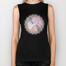 Whimsical white watercolor mandala design Biker Tank