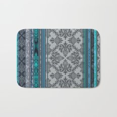 Teal, Aqua & Grey Vintage Bohemian Wallpaper Stripes Bath Mat