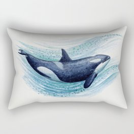 """Orca Spash"" by Amber Marine ~ Watercolor Killer Whale Painting, (Copyright 2016) Rectangular Pillow"