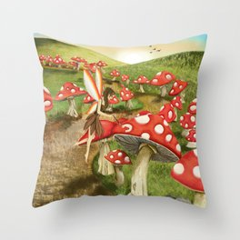 Toadstool Painting Throw Pillow