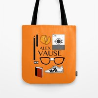 alex vause Tote Bags featuring Alex Vause Poster by Zharaoh