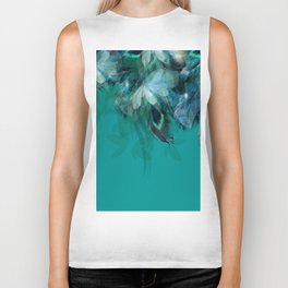 DREAMY FEATHERS & LEAVES - Deep Cyan Biker Tank