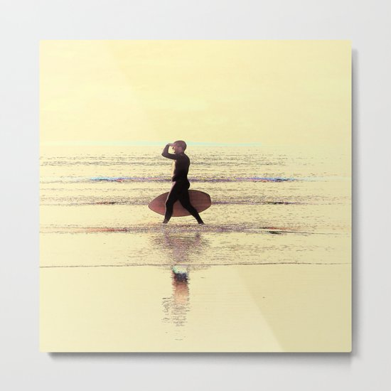 Surfing Solo Metal Print