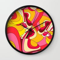 psychadelic Wall Clocks featuring o emilio by Norma Lindsay
