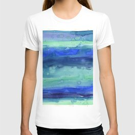 Abstract Blue Horizontal Stripes Watercolor Texture T-shirt