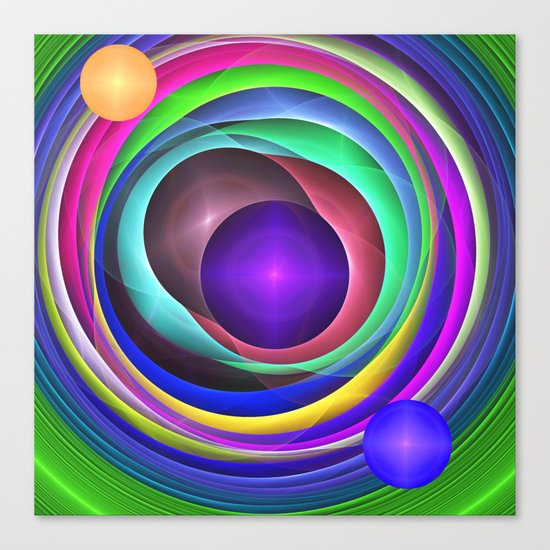 Cool Colourful Fractal Circles Canvas Print