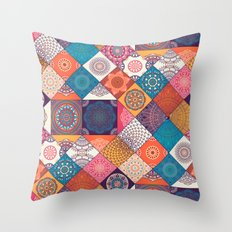 Boho Quilt Pattern Throw Pillow