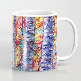 Autumn Aspen Trees Contemporary Painting Coffee Mug