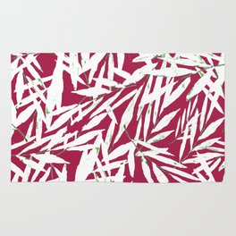 white leave in red background Rug