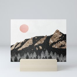 Flatirons Boulder Colorado - Climbing Gold Mountains Mini Art Print