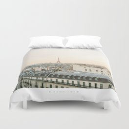 On the rooftops of Paris Duvet Cover