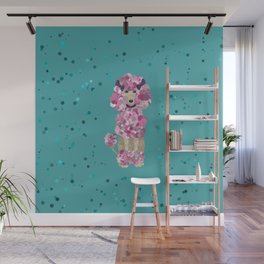 Fun Paint Splatter Poodle on Teal Wall Mural