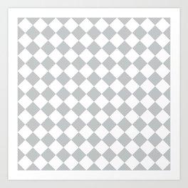 Light Grey Diamond Pattern Art Print