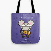 matty healy Tote Bags featuring Matty the Sporty Mouse by Squid&Pig