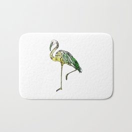 Yellow Flamingo Illustration Bath Mat