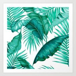 HAWAIIAN GARDEN TROPICAL LEAVES | turquoise white Art Print