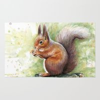 squirrel Area & Throw Rugs featuring Squirrel by Olechka