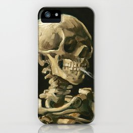Van Gogh Head of a skeleton with a burning cigarette iPhone Case