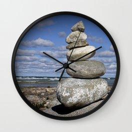 Cairn at North Point on Leelanau Peninsula in Michigan Wall Clock